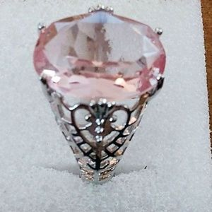 20+ CARAT ROSE QUARTZ 925 STAMPED STERLING SILVER
